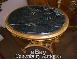 Gilt French Side Table Louis XVI Oval Cocktail Tables