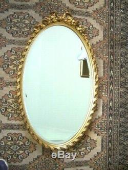 Gold Vintage Bevelled French Louis Style Oval Wall Mirror. Very Good condition