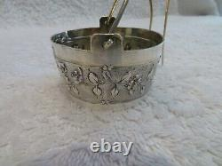 Gorgeous 1900 french 950 silver tea strainer Louis XVI st torche & roses