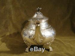 Gorgeous 1900 french sterling guilloche silver large tea pot Louis XVI Roussel