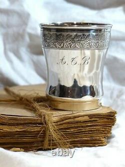 Gorgeous 19TH Antique French Sterling Silver Wine Julep Tumbler Timbale Louis 16