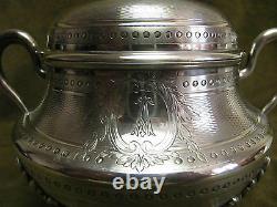 Gorgeous 19th c french sterling guilloche silver sugar bowl Tetard Louis XVI st
