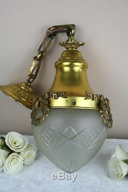 Gorgeous French1920 Hall entrace pendant chandelier crystal glass bowl louis XVI