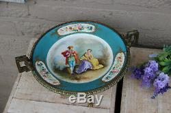 Gorgeous antique French SEVRES porcelain marked centerpiece bowl louis XVI frame