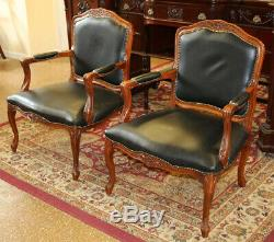 Great Pair Black Leather Carved Walnut Louis XV French Arm Chairs C1940s