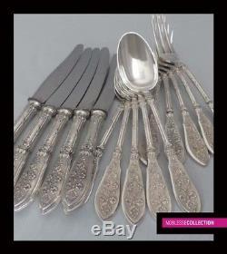 HENIN ANTIQUE 1900s FRENCH STERLING SILVER DINNER FLATWARE SET 15 pc Louis XVI