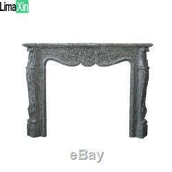 Hand Carved French style White Louis marble fireplace mantel Limaxin