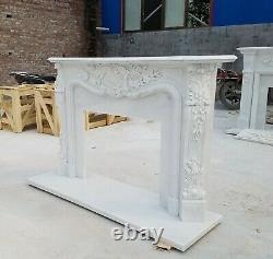 Hand Carved French style White Louis marble fireplace mantel, marble mantle