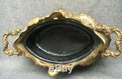 Heavy antique french flower pot planter brass early 1900's Louis XV style