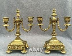 Heavy antique pair of french gilded bronze candlesticks 19th century Louis XVI