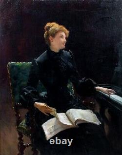 Huge 19th Century French Impressionist Piano Lesson Lady Portrait Louis TRIBOUT