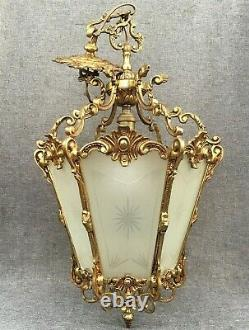 Huge antique french lantern chandelier early 1900's brass Louis XV style 8lb