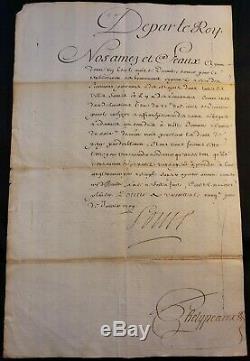 KING LOUIS XIV AUTOGRAPH ON COURT ORDER JANUARY 26, 1709 König von Frankreich