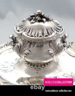 LUXURIOUS ANTIQUE 1880s FRENCH STERLING SILVER DESK INKWELL Louis XV st