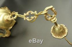 Lantern Bulging, Louis XV Style Bronze & Glass French Antique