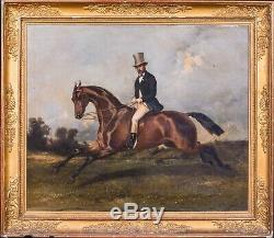 Large 19th Century French Gentleman & Horse Portrait Hunting Louis HEYRAULT