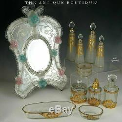 Large Antique French Saint Louis Acid Etched Cameo Glass Perfume Bottle Gilded