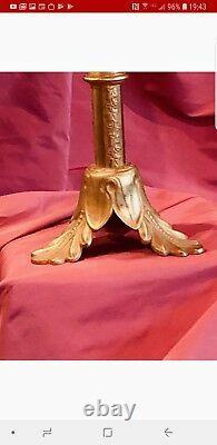 Large Antique Louis XV French Gilt Bronze Altar Crucifix Fleur de Lys motif
