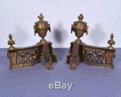 Large Gilt Antique French Louis XVI Bronze Chenet Andirons Fireplace Set