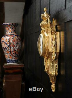 Large Louis XVI Gilt Bronze Antique French Cartel Wall Clock Superb