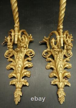 Large Pair Of Sconces, Griffins, Louis XVI Style, 1900 Bronze French Antique