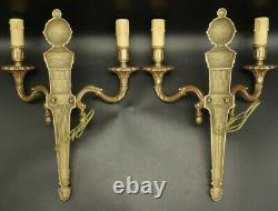 Large Pair Of Sconces Louis XVI Style Bronze French Antique