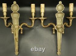 Large Pair Of Sconces, Pine Cones, Louis XVI Style Bronze French Antique