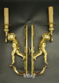 Large Pair Of Sconces, Putti Decor, Louis XVI Style Bronze French Antique