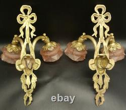 Large Pair Of Sconces, Zephyr, Louis XVI Style Bronze & Glass French Antique