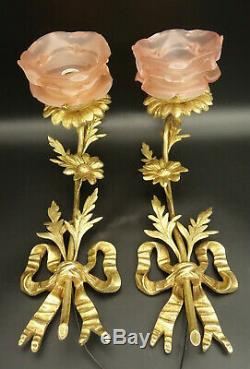Large Pair Sconces, Knots & Flowers, Louis XVI Style Bronze French Antique