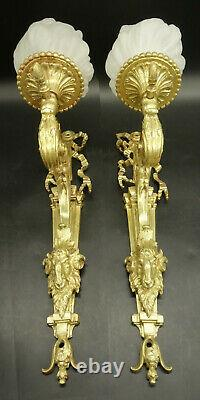 Large Pair Sconces, Ram Heads, Louis XVI Style, 19th Bronze French Antique
