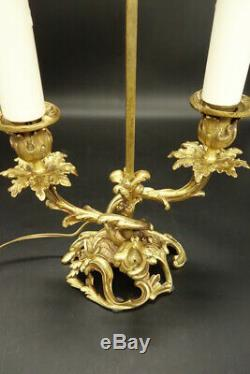Large Screen Lamp Stamped, Louis XV Style, End 19th Bronze French Antique