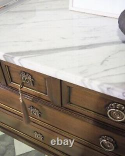 Large Tall French Louis Xvi Chest Of Drawers Commode Marble Top In Mahogany
