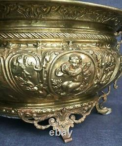 Large antique french Louis XVI planter 19th century brass repousse angels rams