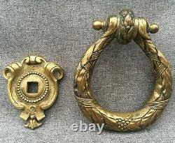 Large antique french door knocker bronze early 1900's Louis XVI mansion castle