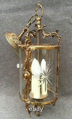 Large antique french lantern chandelier light 1930-40's brass Louis XV style