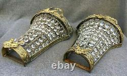 Large antique pair of french Louis XVI style lamps sconces early 1900's bronze