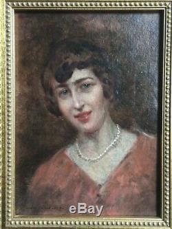 Louis BEROUD (1852-1930) French Impressionist Antique Oil Portrait Woman