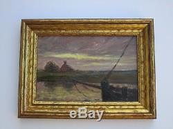 Louis Bouchet Small Gem Sunset Painting Antique Landscape Impressionist French