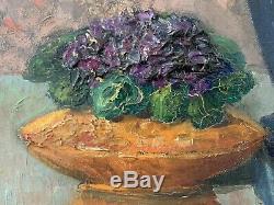 Louis Martinage Grozi (b. 1878) Large French Impressionist Oil Roses Blue Vase