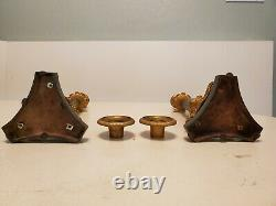 Louis Philippe Gilt Painted Bronze French Lion Paw Candlesticks Candleholder Set