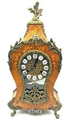Louis XIV style French boulle/tortoiseshell inlaid mantel clock