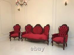 Louis XV 19TH Century Restored Antique Sofa Hand Carved Cedar Velvet Parlor Set