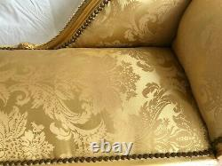 Louis XV Arm Chair French Style Bench Vintage Furniture Gold Satin