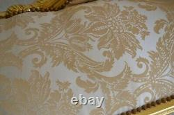 Louis XV Arm Chair French Style Bench Vintage Furniture Gold White Satin