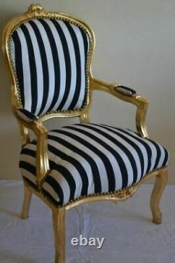 Louis XV Arm Chair French Style Chair Vintage Black And White Gold Wood
