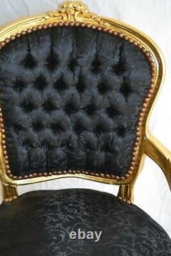 Louis XV Arm Chair French Style Chair Vintage Furniture Gold Black Satin