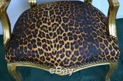 Louis XV Arm Chair French Style Chair Vintage Furniture Leopard Gold Wood
