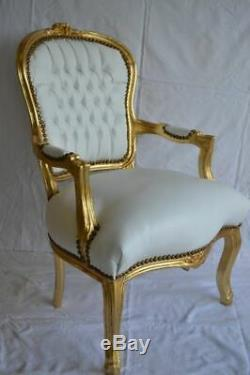 Louis XV Arm Chair French Style Chair Vintage Furniture White Leather Look Gold