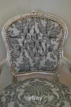Louis XV Arm Chair French Style Chair Vintage Grey And White Silver Wood
